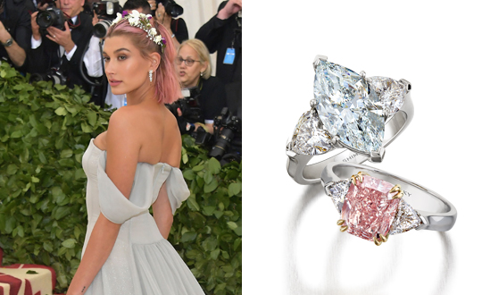 A pink diamond ring for Hailey Baldwin